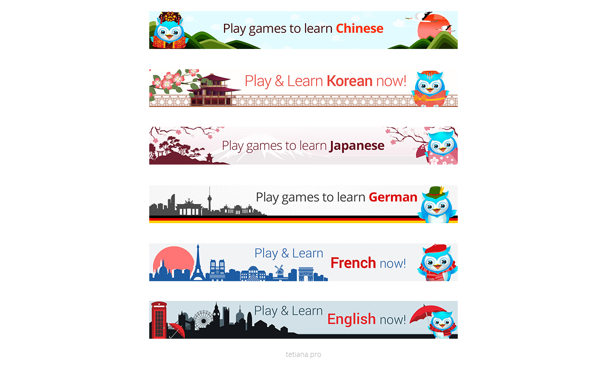 Learn Language banners